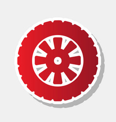 Road tire sign new year reddish icon with vector