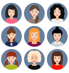 round avatar girls vector image