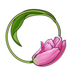 round frame formed by pink tulip flower place for vector image