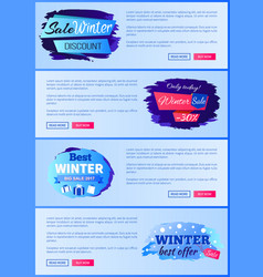 sale winter discount set on vector image
