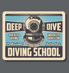 Sea diving sport school training retro poster vector