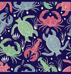 Seamless colourful pattern with turtles crabs and vector