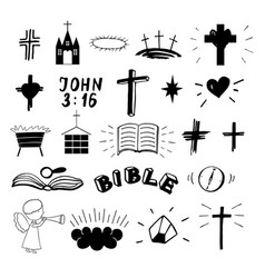 set 22 christian icons ministry biblical vector image