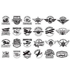 Set airplane training center emblems design vector