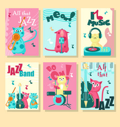 set cards with music cats and vector image