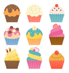 Set of cup cake icon with coating sugar vector
