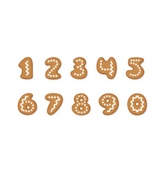 set of gingerbread cookies numbers vector image