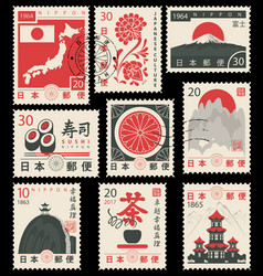set old postage stamps with japanese symbols vector image