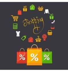 Shopping sale concept card vector