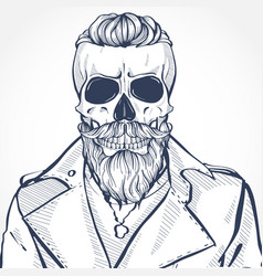 skull with hairstyle and moustaches vector image