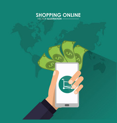 Smartphone and shopping bag icon shopping online vector