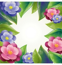 spring leaves and violet frame vector image
