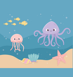 starfish octopus jellyfish fish sand bubbles life vector image