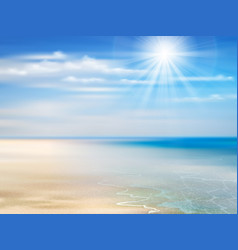 Summer background with ocean coastline blue sky vector