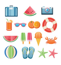 summer sticker icon set paper art design can be vector image