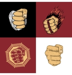 The set of four images with fists vector image