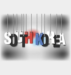 The word south korea hang on the ropes vector