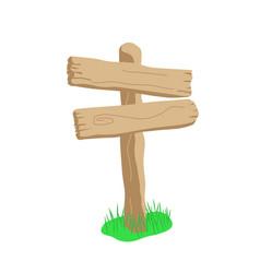 Two arrow shape cartoon wooden sign isolated on vector