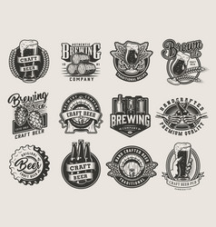 vintage monochrome beer designs collection vector image