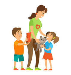 Volunteer sharing to orphans children vector