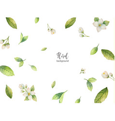 Watercolor background of flowers and vector