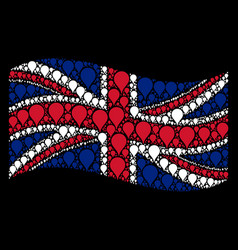 Waving great britain flag pattern of map pointer vector