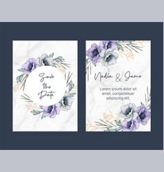wedding card template flower watercolor vector image