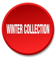Winter collection red round flat isolated push vector