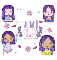 Woman power girl cartoon vector