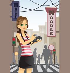 woman tourist vector image