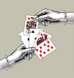 Womans hands with playing cards fan vintage vector