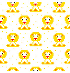 Yellow lion cartoon pixel art seamless pattern vector