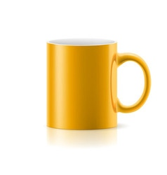 Yellow mug on white vector