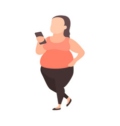 young plus size girl with smartphone teenager vector image
