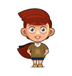 young superhero man cartoon character with cloak vector image