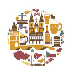 czech republic national elements collection in vector image vector image