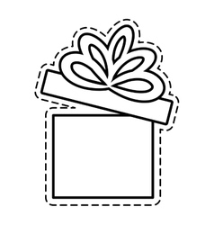 Gift box ribbon bow party beauty open cut line vector