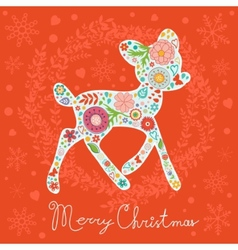 Merry Christmas greeting card Colorful floral deer vector image vector image