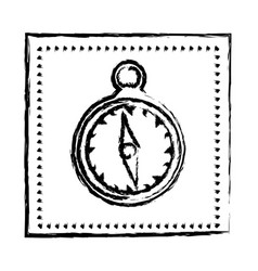 monochrome sketch frame with compass vector image