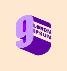 Number 9 3D logo design template elements Digit vector image vector image