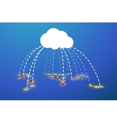 People connected In Cloud flat vector image vector image