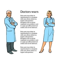 Physicians man and a woman standing with his arms vector