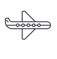 plane line icon sign on vector image