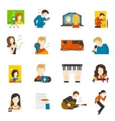 Pop Singer Flat Icons Set vector image