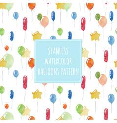 watercolor balloons seamless holiday pattern vector image vector image