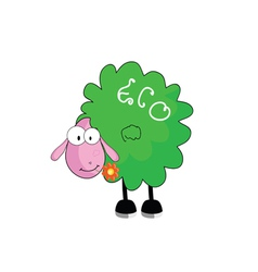 eco sheep with flower vector image vector image