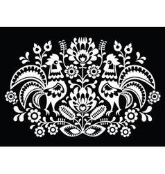 Polish folk art pattern roosters on black vector image