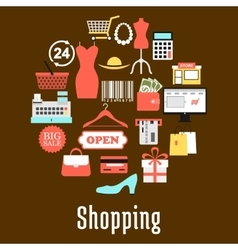 Shopping and retail commerce icons vector image vector image