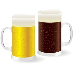 Two mugs of beer vector image