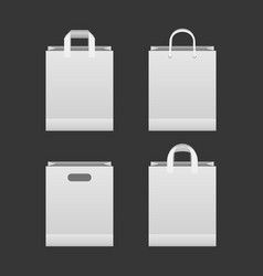 white paper shopping bag set vector image